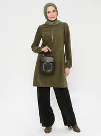 Khaki - Crew neck - Tunic -  By Tuğba
