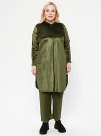 Khaki - Unlined - Plus Size Suit