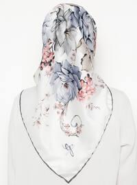 Silver tone - Cream - Floral - Printed - Rayon - Scarf