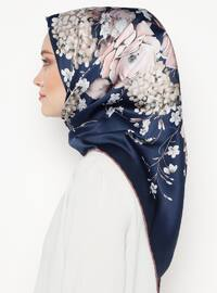 Navy Blue - Floral - Printed - Rayon - Scarf