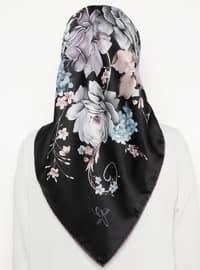 Black - Floral - Printed - Rayon - Scarf