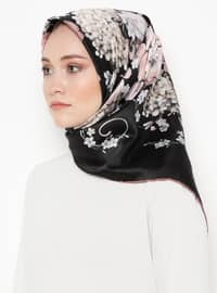 Lilac - Black - Floral - Printed - Rayon - Scarf
