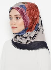 Navy Blue - Lilac - Floral - Printed - Viscose - Scarf