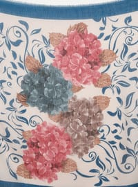 Petrol - Floral - Printed - Viscose - Scarf