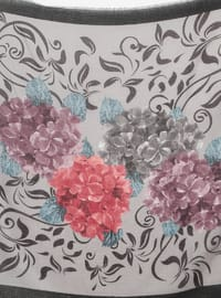 Lilac - Black - Floral - Printed - Viscose - Scarf