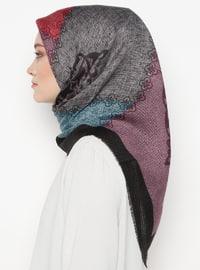 Lilac - Black - Printed - Viscose - Scarf