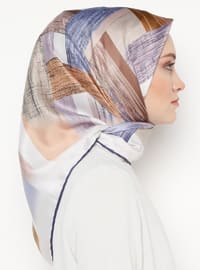 Navy Blue - Lilac - Printed - Rayon - Scarf