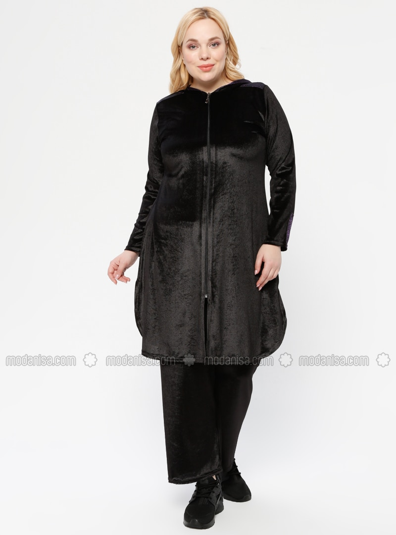 Black - Unlined - Plus Size Suit