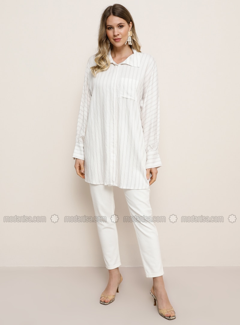 White - Camel - Ecru - Stripe - Point Collar - Plus Size Tunic