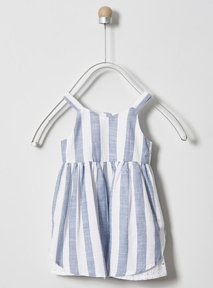 Stripe - V neck Collar -  - Viscose - Blue - Baby Dress
