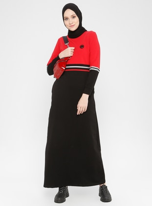 Red - Black - Crew neck - Unlined -  - Dress