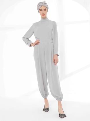 Gray - Unlined - Crew neck - Jumpsuit