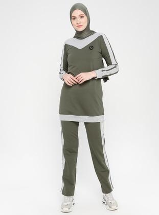 Gray - Khaki -  - Crew neck - Tracksuit Set