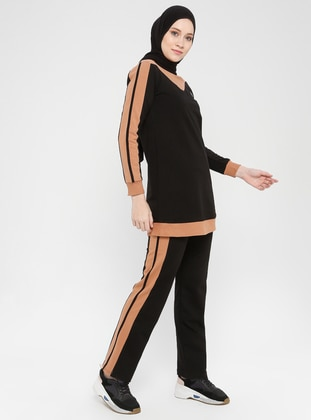 Black - Cinnamon -  - Crew neck - Tracksuit Set
