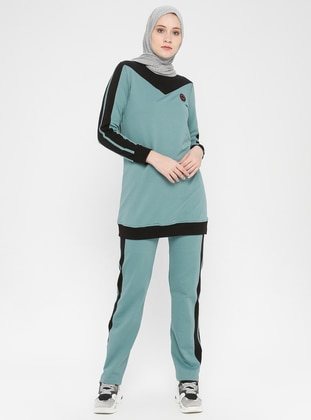 Black - Sea-green -  - Crew neck - Tracksuit Set