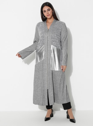 Gray - Unlined - V neck Collar -  - Plus Size Coat