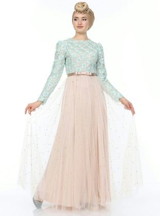 Sea-green - Fully Lined - Crew neck - Muslim Evening Dress
