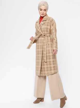 Beige - Unlined - Shawl Collar - Acrylic - Coat