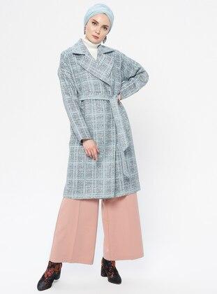Blue - Unlined - Shawl Collar - Acrylic - Coat
