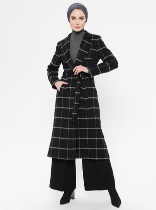 Black - Checkered - Fully Lined - Shawl Collar - Acrylic - Coat