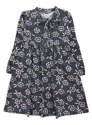 Floral - Crew neck -  - Gray - Girls` Dress