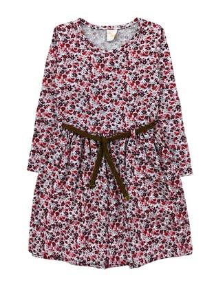 Floral - Crew neck -  - Red - Girls` Dress