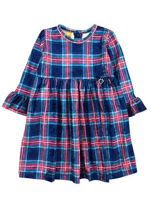 Plaid - Crew neck -  - Unlined - Navy Blue - Girls` Dress