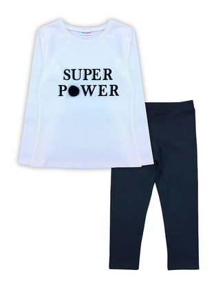 Crew neck -  - Unlined - White - Girls` Suit
