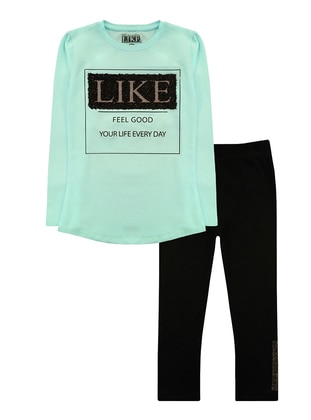 Crew neck -  - Mint - Girls` Suit