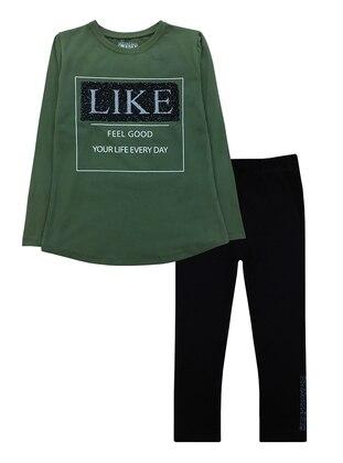 Crew neck -  - Green - Girls` Suit