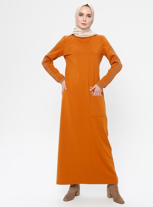 Tan - Crew neck - Unlined -  - Dress