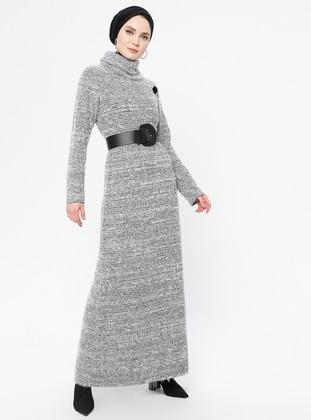 Gray - Polo neck - Unlined - Dress