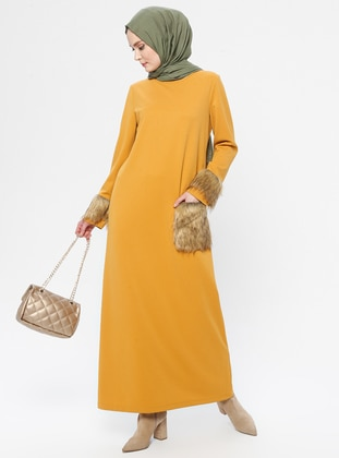 Mustard - Yellow - Crew neck - Unlined - Dress