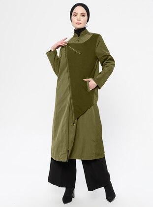 Khaki - Fully Lined - Crew neck - Trench Coat