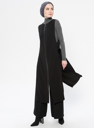 Black - Unlined - Crew neck - Vest