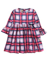 Plaid - Crew neck -  - Unlined - Red - Girls` Dress
