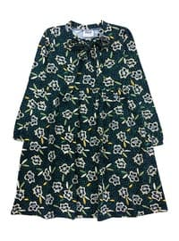 Floral - Crew neck -  - Green - Girls` Dress