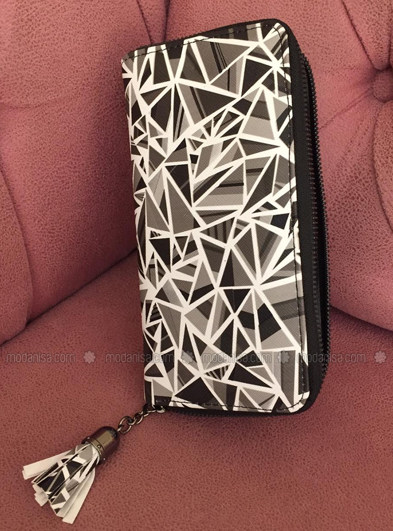 White - Black - Clutch - Wallet