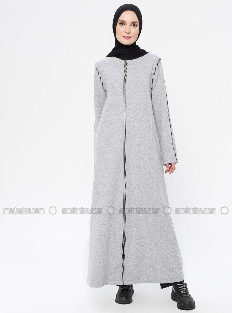 Gray - Unlined - Crew neck -  - Abaya