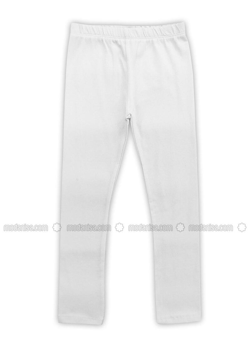 Kapas Bergaris Putih Krem Celana Legging Wanita