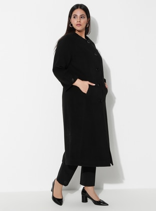 Black - Fully Lined - Viscose - Plus Size Overcoat - MİCCA