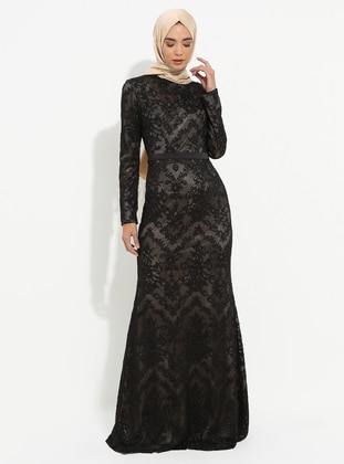 Gold - Black - Fully Lined - Crew neck - Muslim Evening Dress