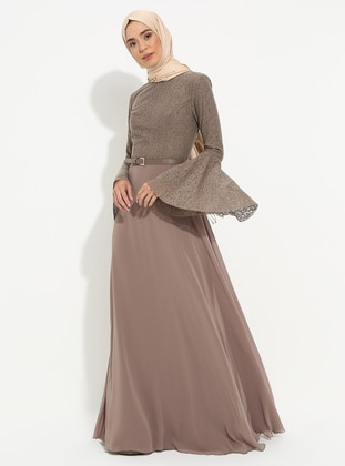 Mink - Fully Lined - Crew neck - Muslim Evening Dress