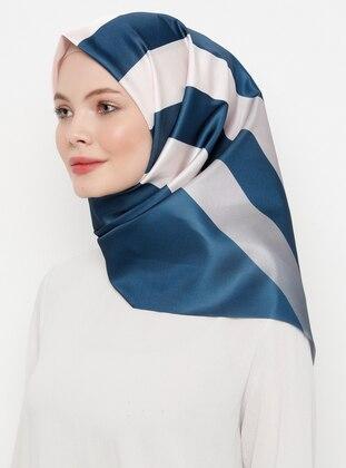Navy Blue - Powder - Printed - Scarf