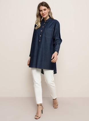 Navy Blue - Point Collar - Denim - Plus Size Tunic - Alia