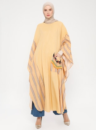 Mustard - Stripe - Unlined - Crew neck -  - Abaya