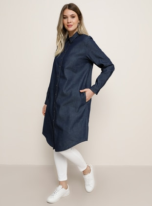 Navy Blue - Point Collar - Denim - Cotton - Plus Size Tunic - Alia