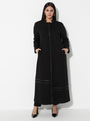 Black - Fully Lined - Crew neck - Rayon - Plus Size Coat