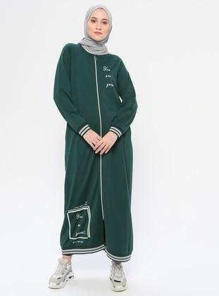 Green - Unlined - Crew neck -  - Topcoat