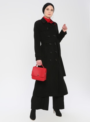 Black - Fully Lined - Point Collar - Viscose - Topcoat